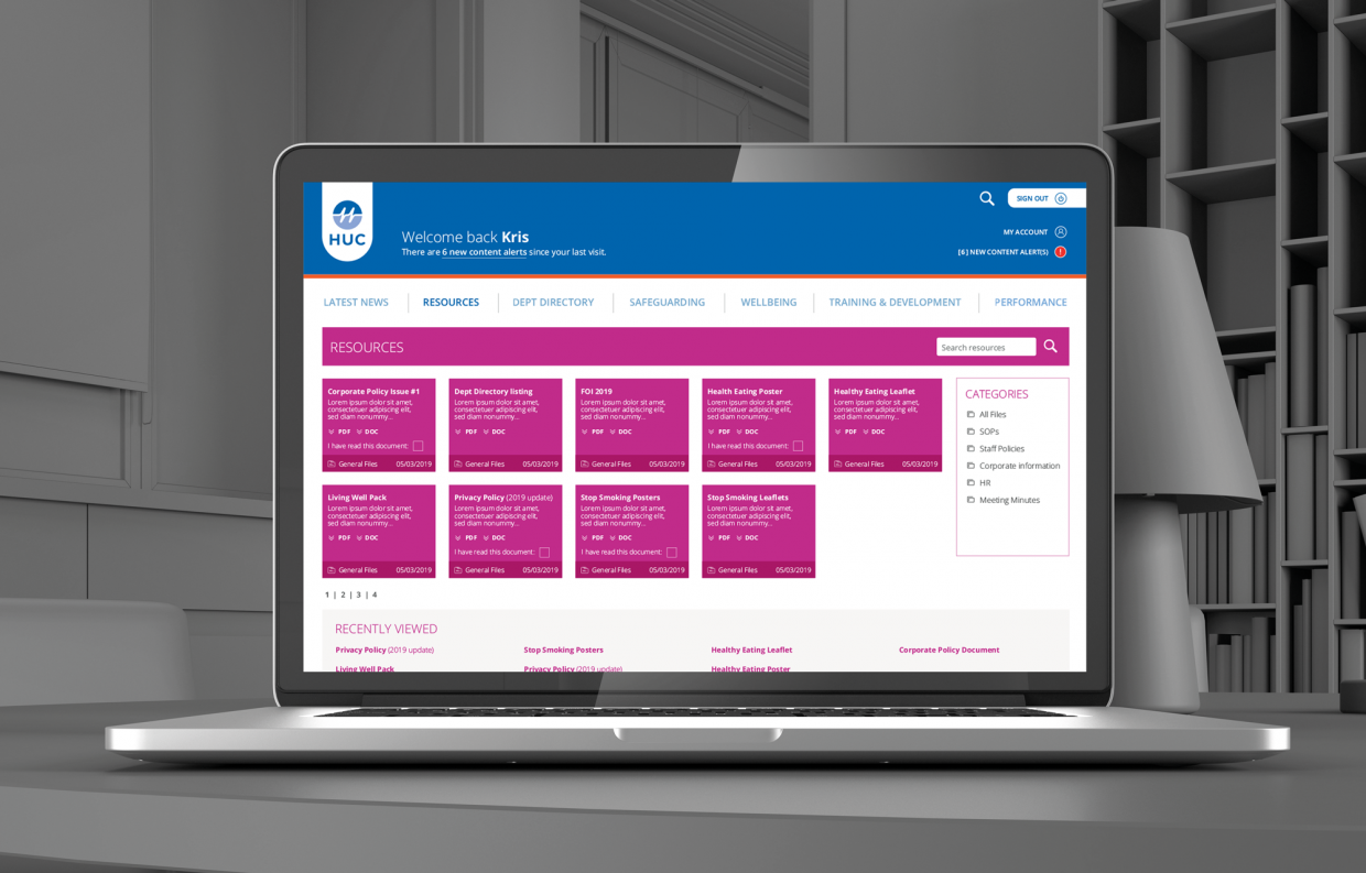 Herts Urgent Care - Intranet Design